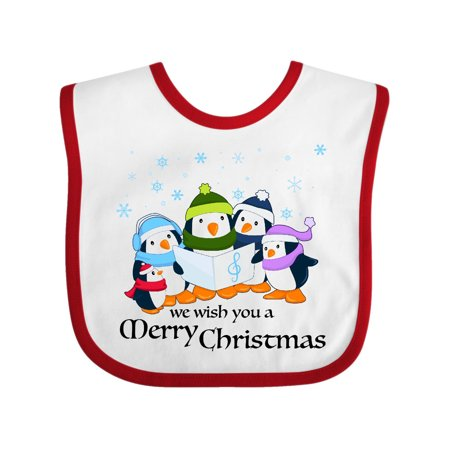 We Wish You a Merry Christmas penguin carolers Baby Bib White Red One