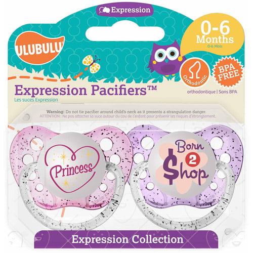Ulubulu Princess Born To Shop Pacifiers, 0-6 Months, 2-Pack by Ulubulu