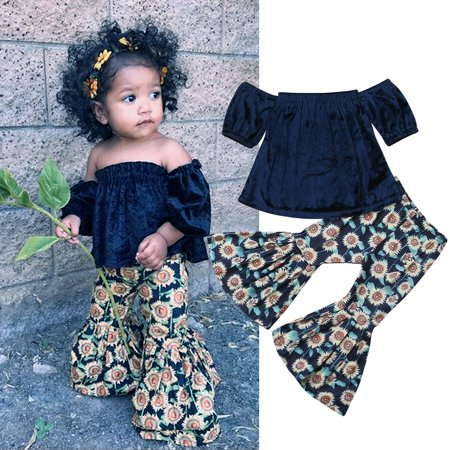 Kids Baby Girl Casual Outfits Velet Off Shoulder Crop Tops Sunflower Bell-Bottom Floral Pants 2Pcs Sets Clothes 1-2