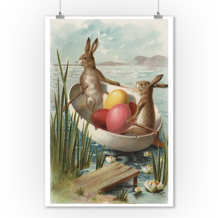 Easter - Bunnies in a Boat with Colored Eggs - Vintage Holiday Art (9x12 Art Print, Wall Decor Travel Poster) ()