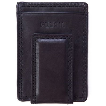 Fossil Card (Fossil Magnetic Money Clipper Wallet Leather Laredo Black Card Case )
