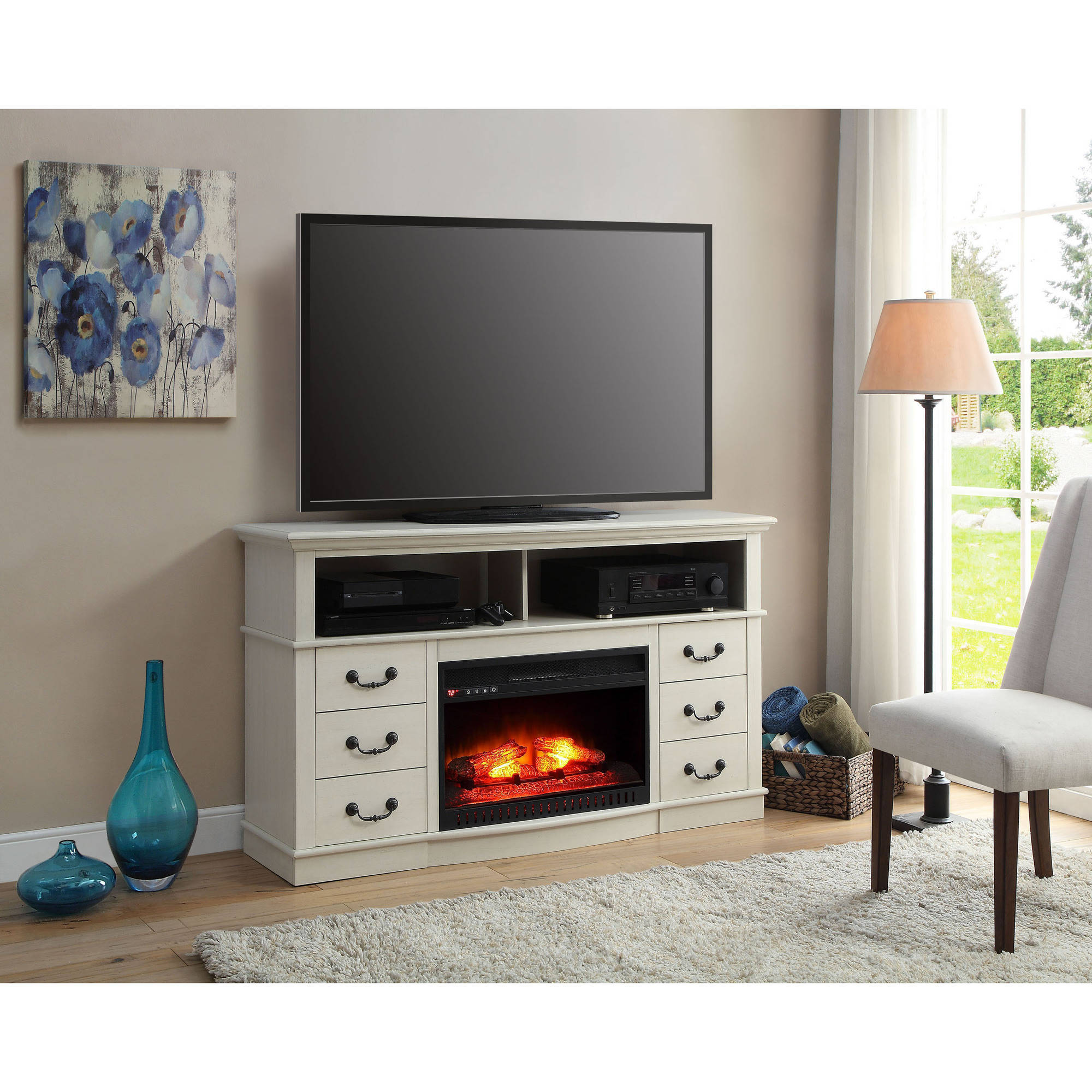 Better homes and gardens 60 media fireplace console for tvs up to 70 multiple finishes walmart com