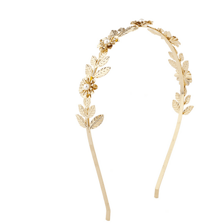 Lux Accessories Gold Tone Faux Pearl Casted Floral Goddess Flower Crown Headband for $<!---->
