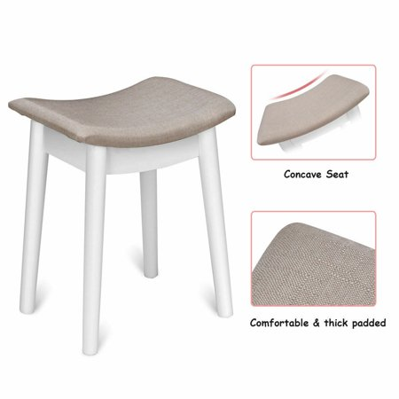 Costway Vanity Dressing Table Set Flip Mirror Desk Furniture Stool W/ 2 Drawer White - image 4 of 10