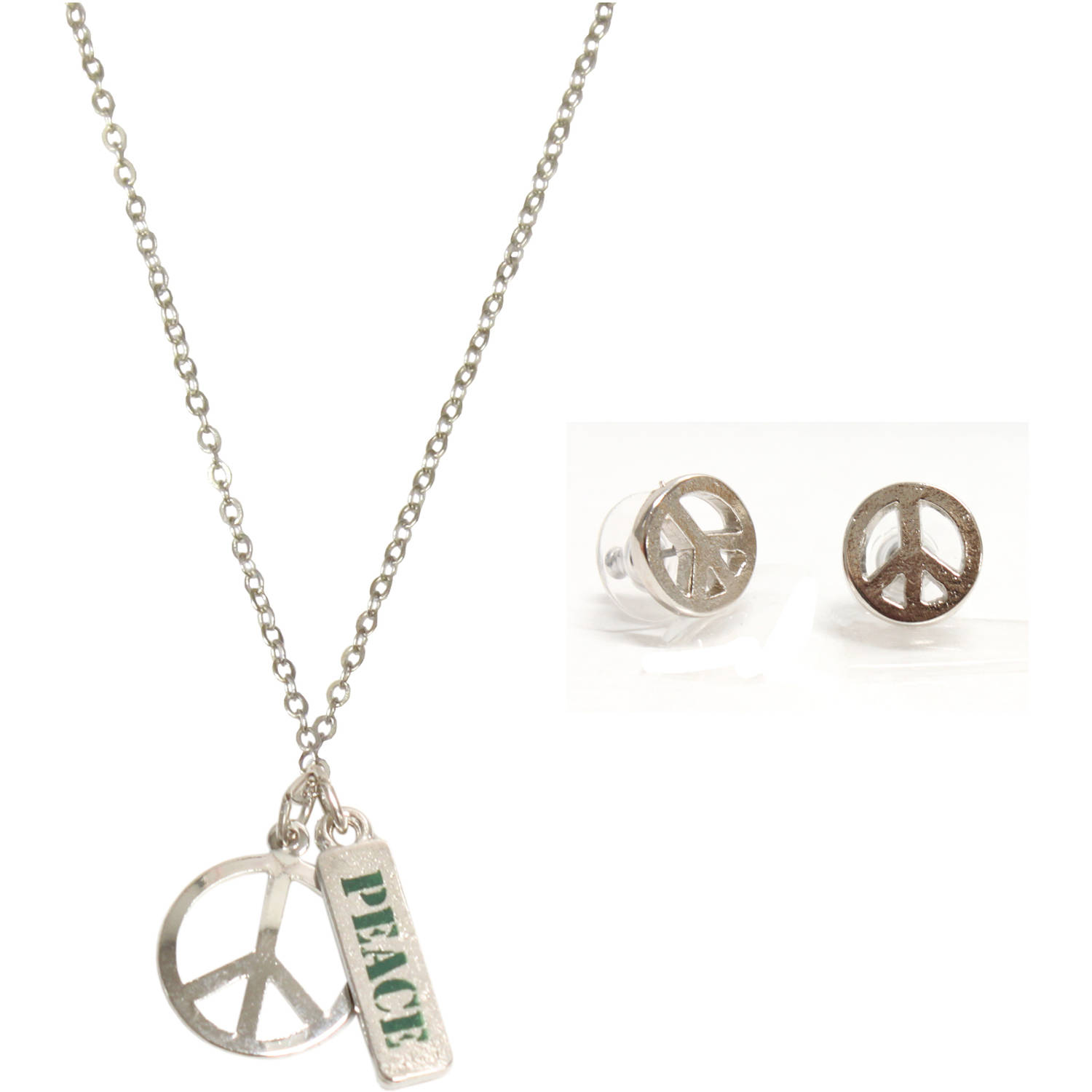rhodium peace necklace and earrings jewelry set walmart