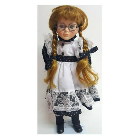 "Forever Friends The Briony Collection Vintage Farm Girl Dress ""Belinda"" Strawberry Blonde Porcelain Doll With Glasses"