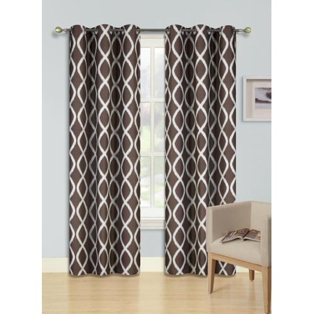 F7 IVORY 2-PC Printed BLACKOUT Room Darkening Window Curtain Treatment, Set of Two (2) Diamond Pattern Insulated Thermal Panels 37
