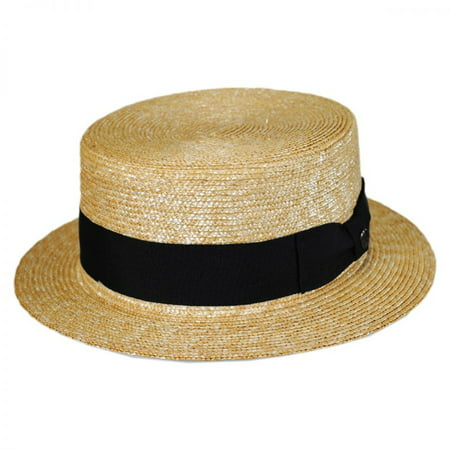 Black Band Wheat Straw Skimmer Hat - XXL - Natural/Black - Straw Skimmer Hat