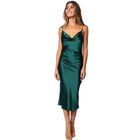 Summer Womens Sexy Spaghetti Strap Wave Point Leopard Print Dress Fashion Sleeveless Cold Shoulder Slim Fit Midi Dress (Leopard Print Spaghetti)