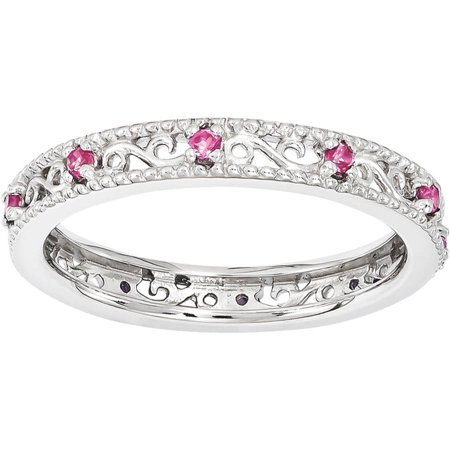 Created Pink Sapphire Sterling Silver Ring