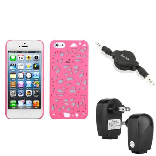 Insten Wall Charger Audio Cable Pink Bird Nest Mesh Hard Case For iPhone 5 5G Gen