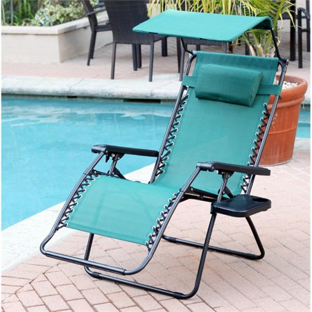 Jeco Oversized Zero Gravity Chair with Sunshade and Drink Tray in Pacific Blue (Set of 2 Chairs) ()