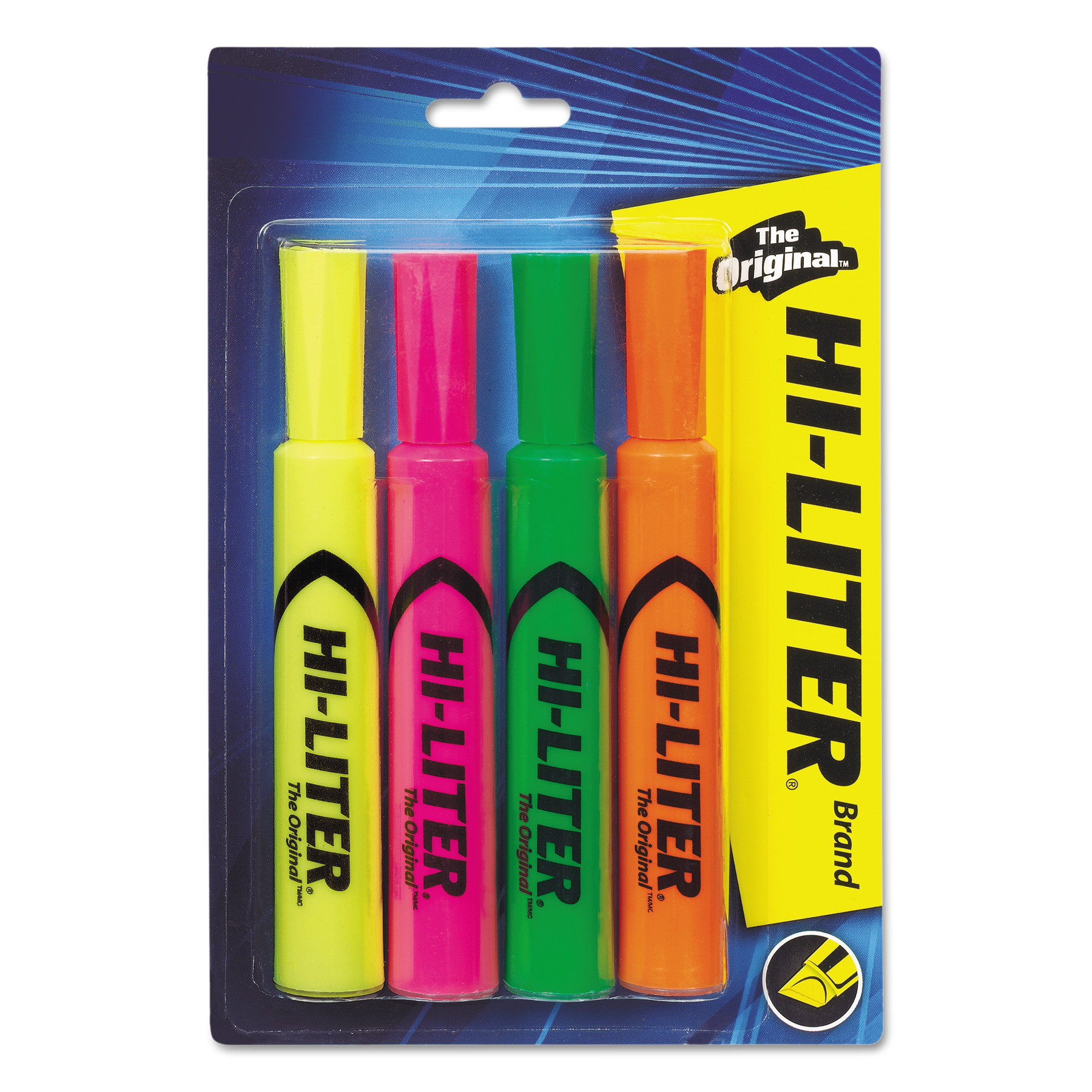 Avery(R) HI-LITER(R) Desk-Style Highlighters, SmearSafe(TM), Nontoxic, Assorted Colors (1 Fl. Yellow, 1 Fl. Pink, 1 Fl. Green, 1 Fl. Orange), Pack of 4 (24063)