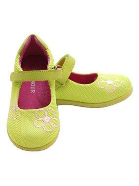 Toddler Little Girl Lime Green Mesh Flower Mary Jane Shoe 5-2