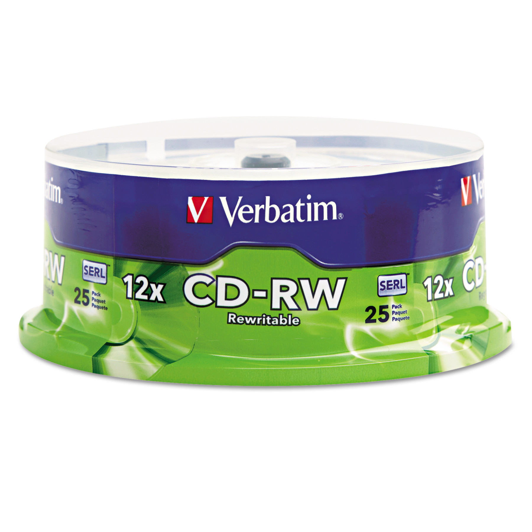 Verbatim CD-RW Discs, 700MB/80min, 4X/12X, Spindle, 25/Pk -VER95155