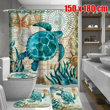 60x71 inch Blue Tortoise Waterproof Distinctive Bathroom Fabric Shower Curtain (with 12 hooks)+ 3 PCS Non-Slip Pedestal Rugs Toilet Seat Lid Cover Set Christmas - Tortoise Pedestal
