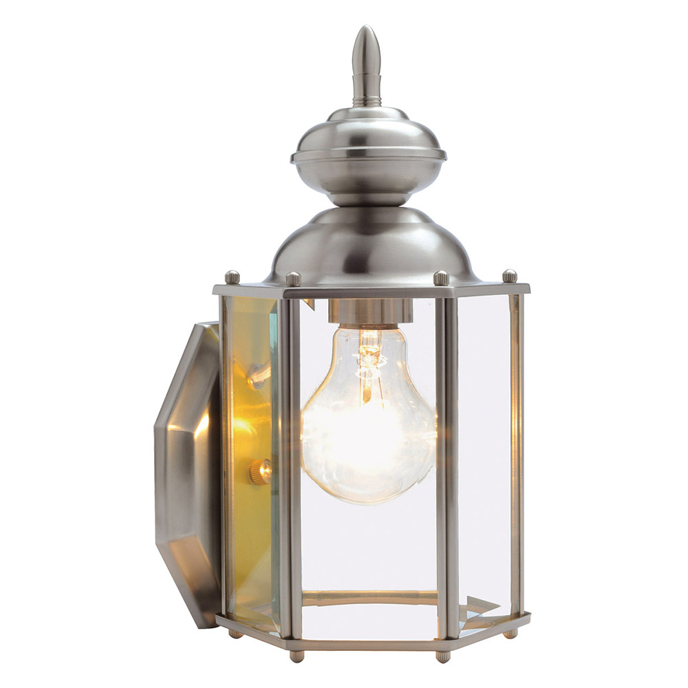 Design House 514877 Augusta 1-Light Indoor/Outdoor Wall Light, Satin Nickel