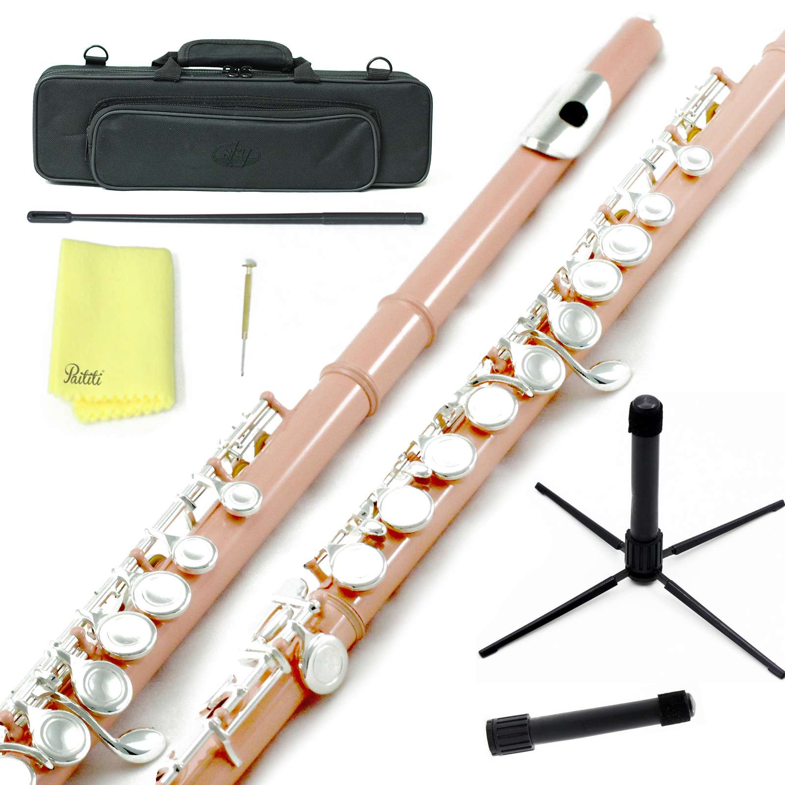 Sky Closed Hole C Flute with Lightweight Case, Cleaning Rod, Cloth, Joint Grease and Screw Driver - Velvet Pink Silver