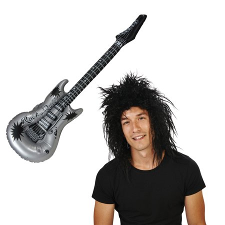 Rocker Wig and Inflatable Guitar Bundle - Inflatable Air Guitar