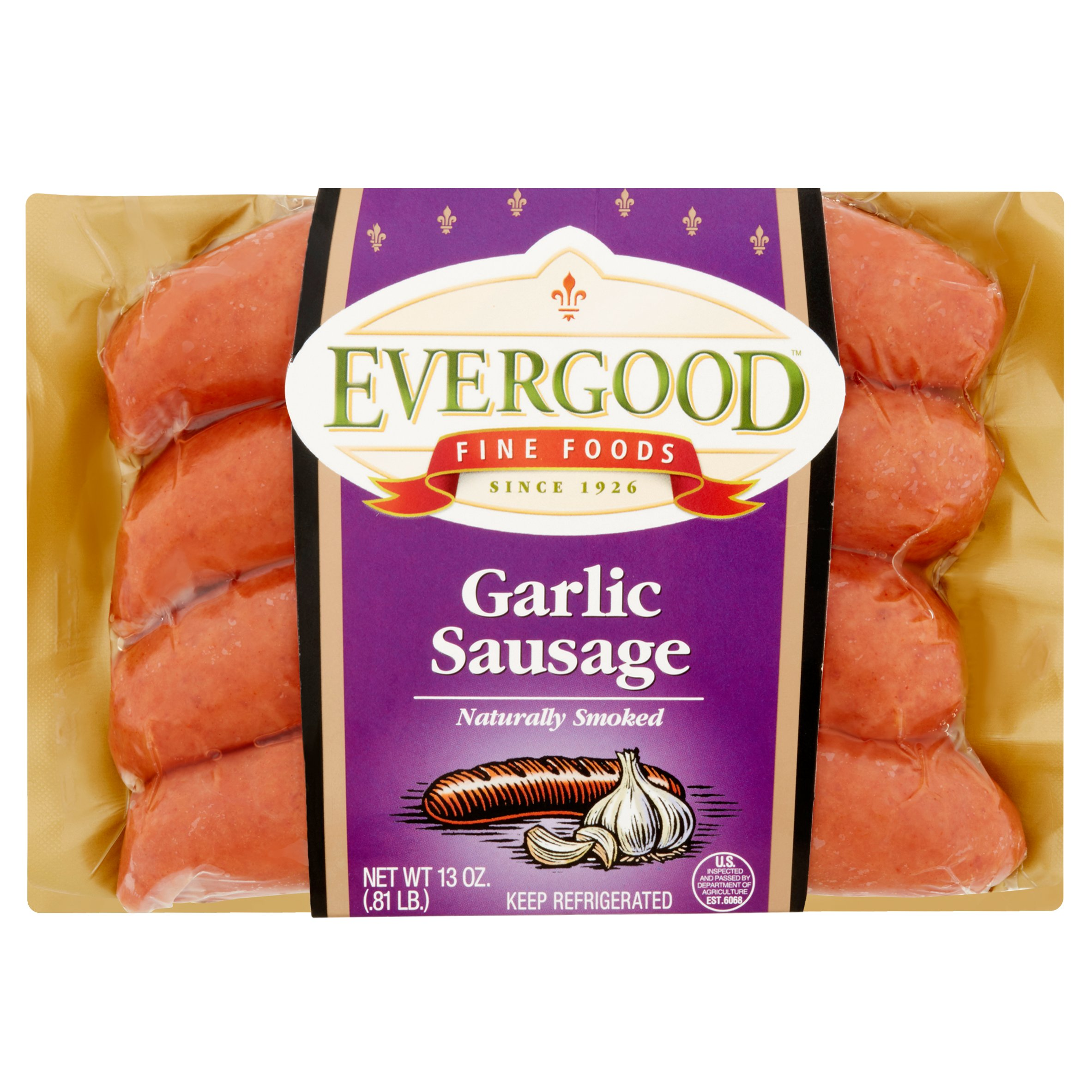 Evergood Sausage Garlic Smoked Sausage, 13 Oz.