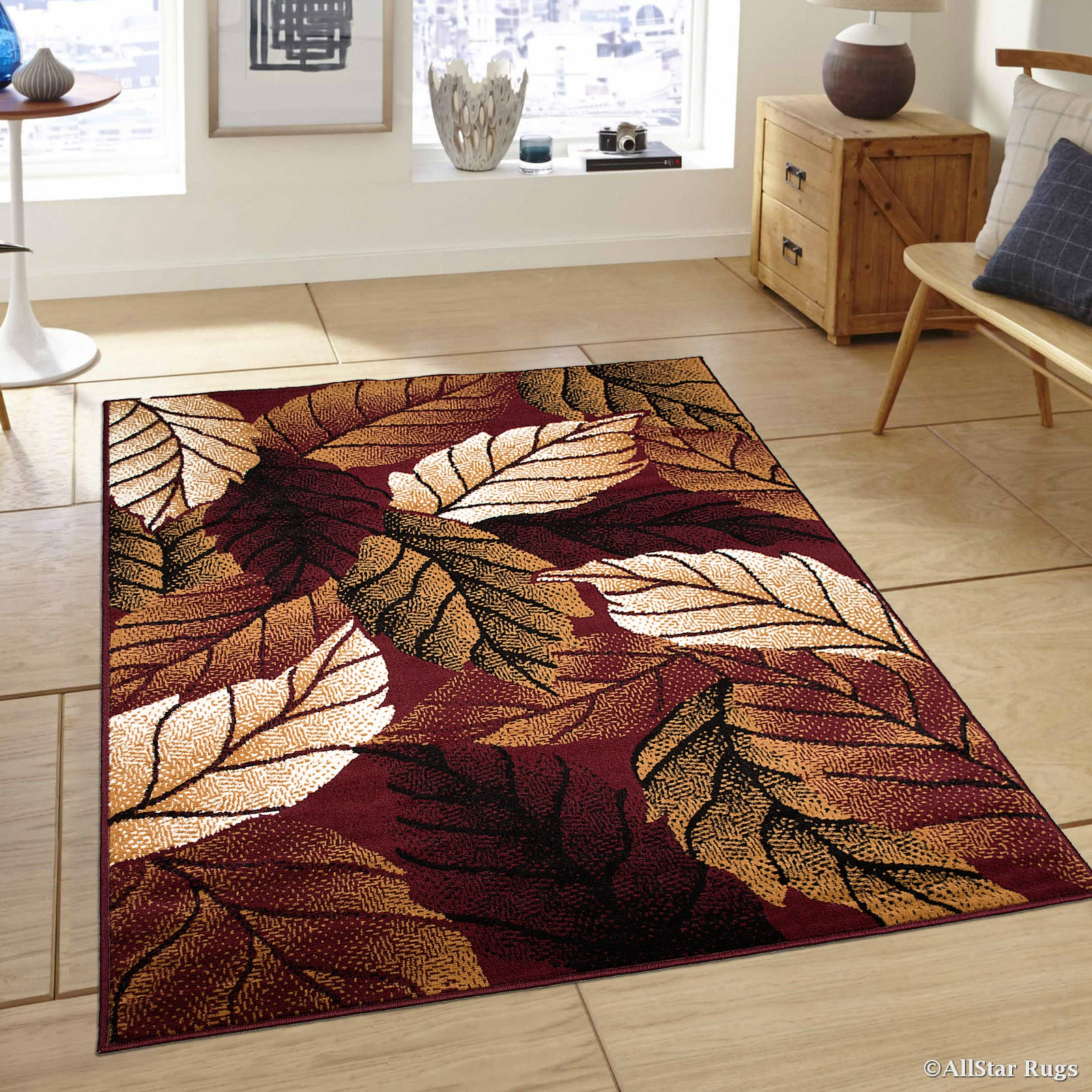 Allstar Burgundy Area Rug Contemporary Abstract