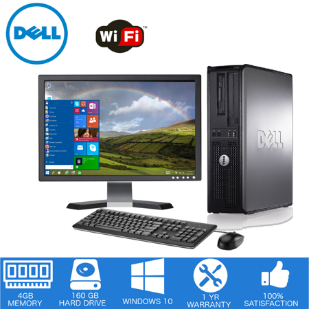 "Dell - Optiplex Desktop Computer PC – Intel Core 2 Duo - 4GB Memory - 160GB Hard Drive - Windows 10 - 19"" LCD (Refurbished)"