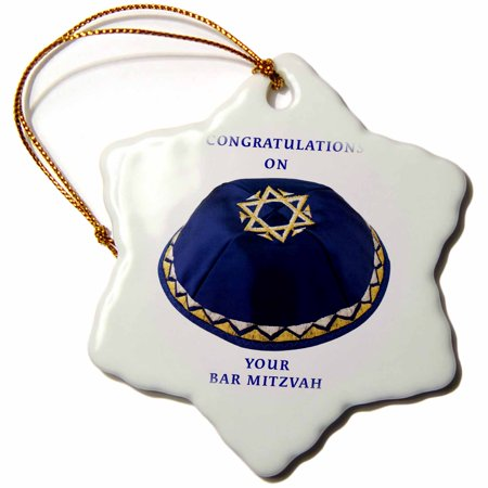 3dRose Bar Mitzvah Boy, Snowflake Ornament, Porcelain, 3-inch - Bar Mitzvot