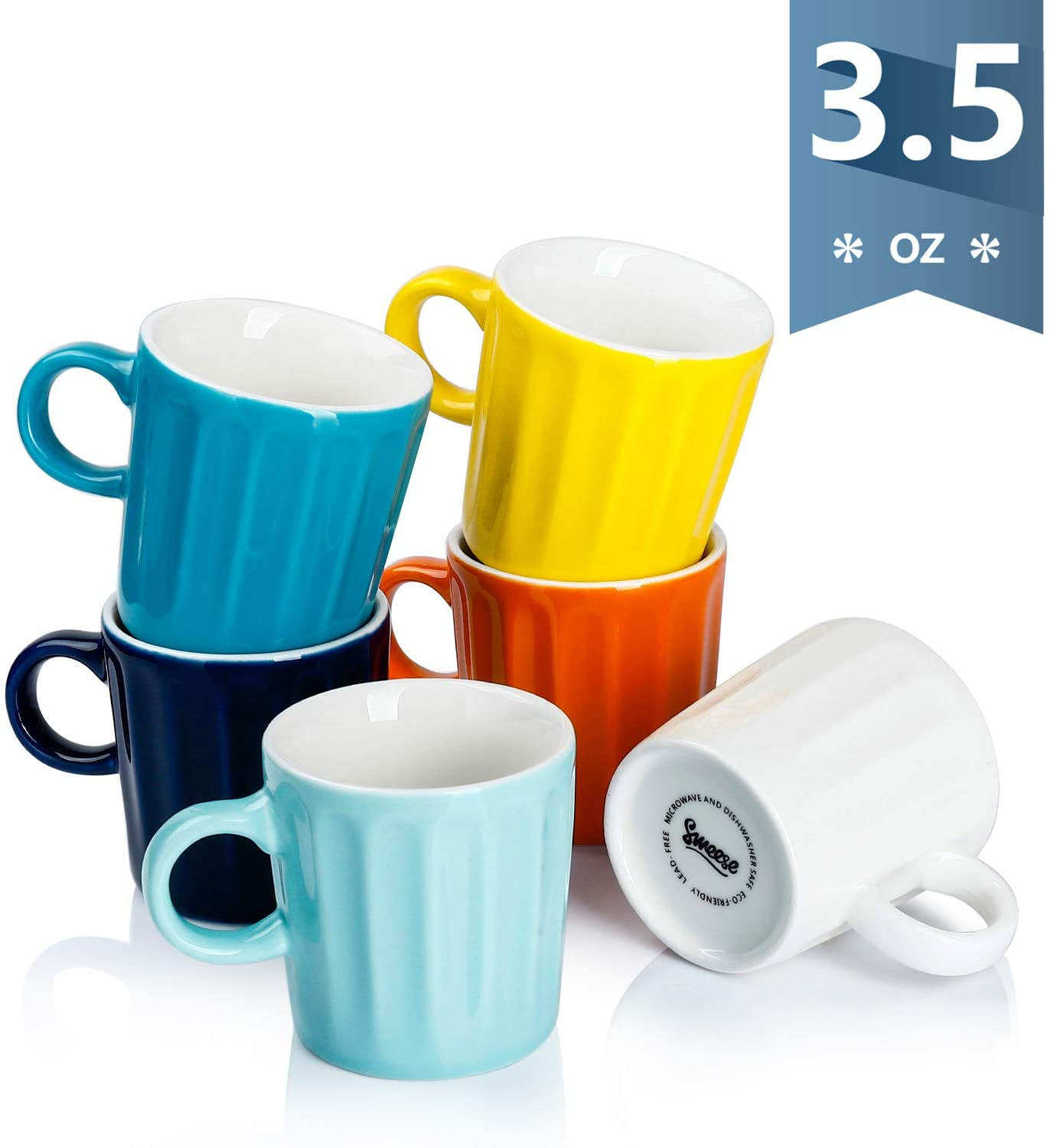 410 002 Porcelain Fluted Espresso Cups 3 5 Ounce Set Of 6 Hot Assorted Walmart Com Walmart Com