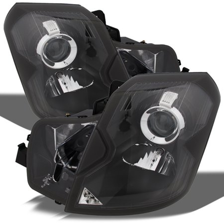 Fit 2003-2007 Cadillac CTS Halogen Type Headlights Black Headlamps
