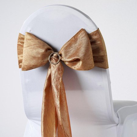 Crinkle Tie (5pcs Gold Taffeta Crinkle Chair Sashes Tie Bows Catering -)