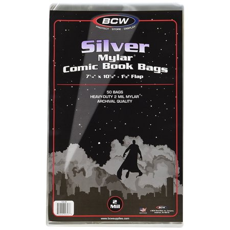 Silver Comic Mylar Bags 2 Mil - Comics, Comic Books Storage Collecting Supplies, 7 1/4 X 10 1/2 50 Pack, Made of archival polyester mylar. By BCW - Supply Store