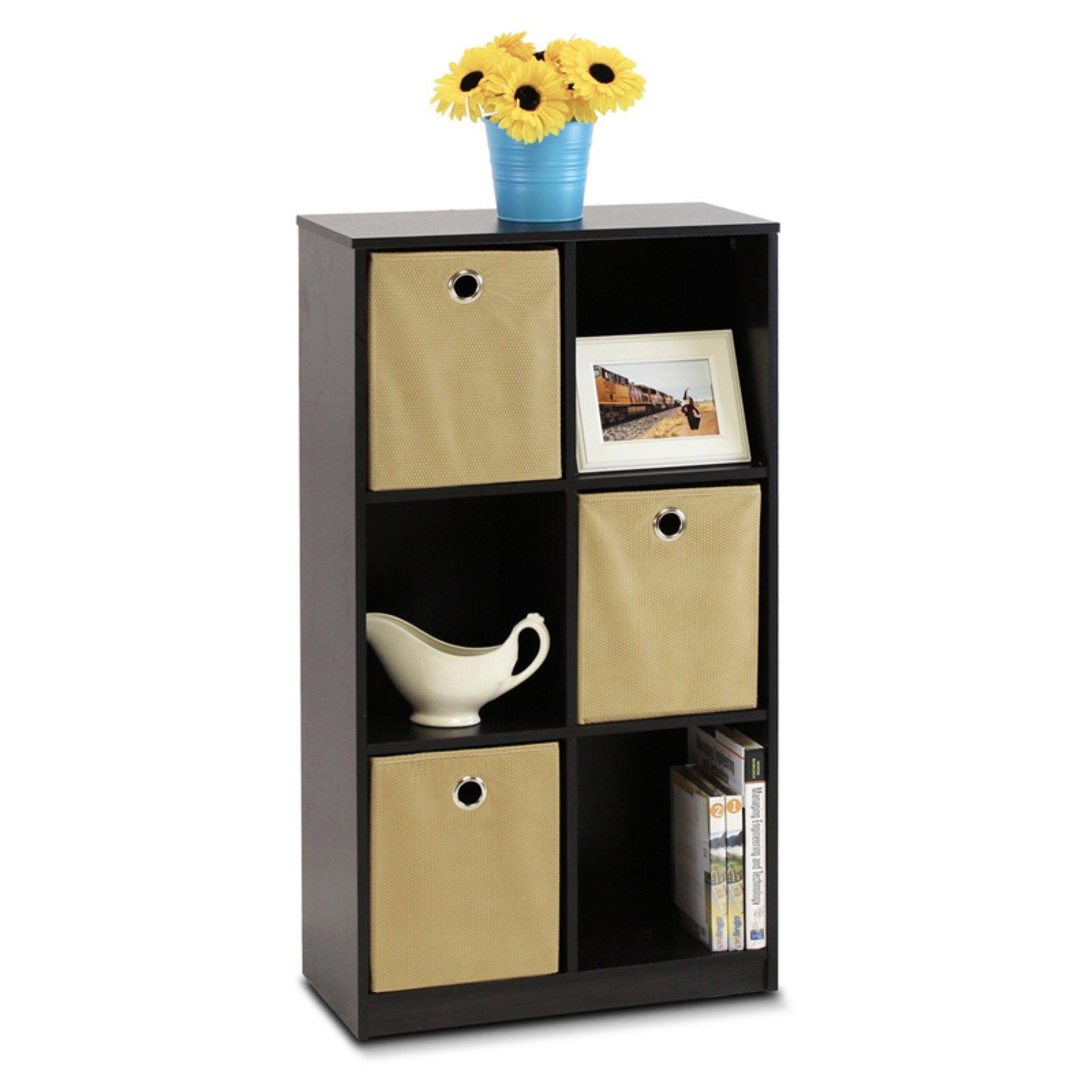 Furinno 13087EX/LB Econ Storage Organizer Bookcase with Bins, Espresso/Light Brown