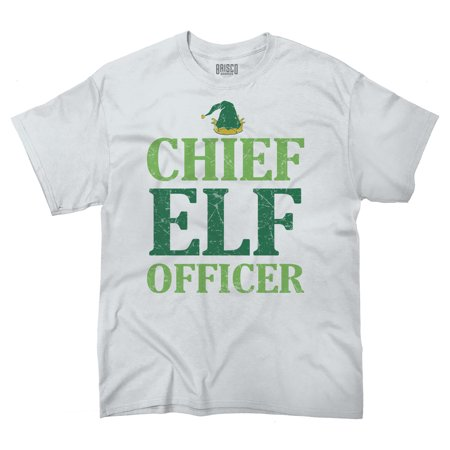 Chief Elf Officer Christmas Funny Shirts Ugly Gift Ideas Cool T-Shirt Tee by Brisco Brands (Character Ideas)