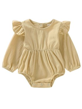 Lovely Newborn Kid Baby Girls Clothes Ruffles Long Sleeve Solid Color Romper Bodysuit Jumpsuit Playsuit Clothes Outfit 0-24M