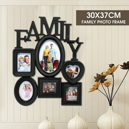 Grtxinshu 2 Colors 6-Opening Multi-sized Picture Frame Family Wall Collage Photo Holder Wall Table Display Home Bedroom Decor 30x37cm ()