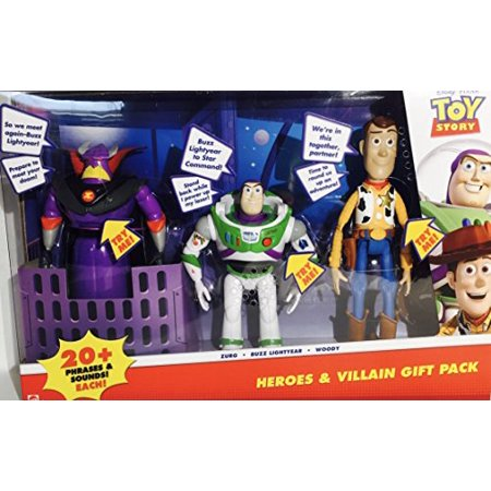 Disney Pixar Toy Story Heroes & Villain Gift Pack, Talking Zurg, Buzz Lightyear & - Woody Lightyear