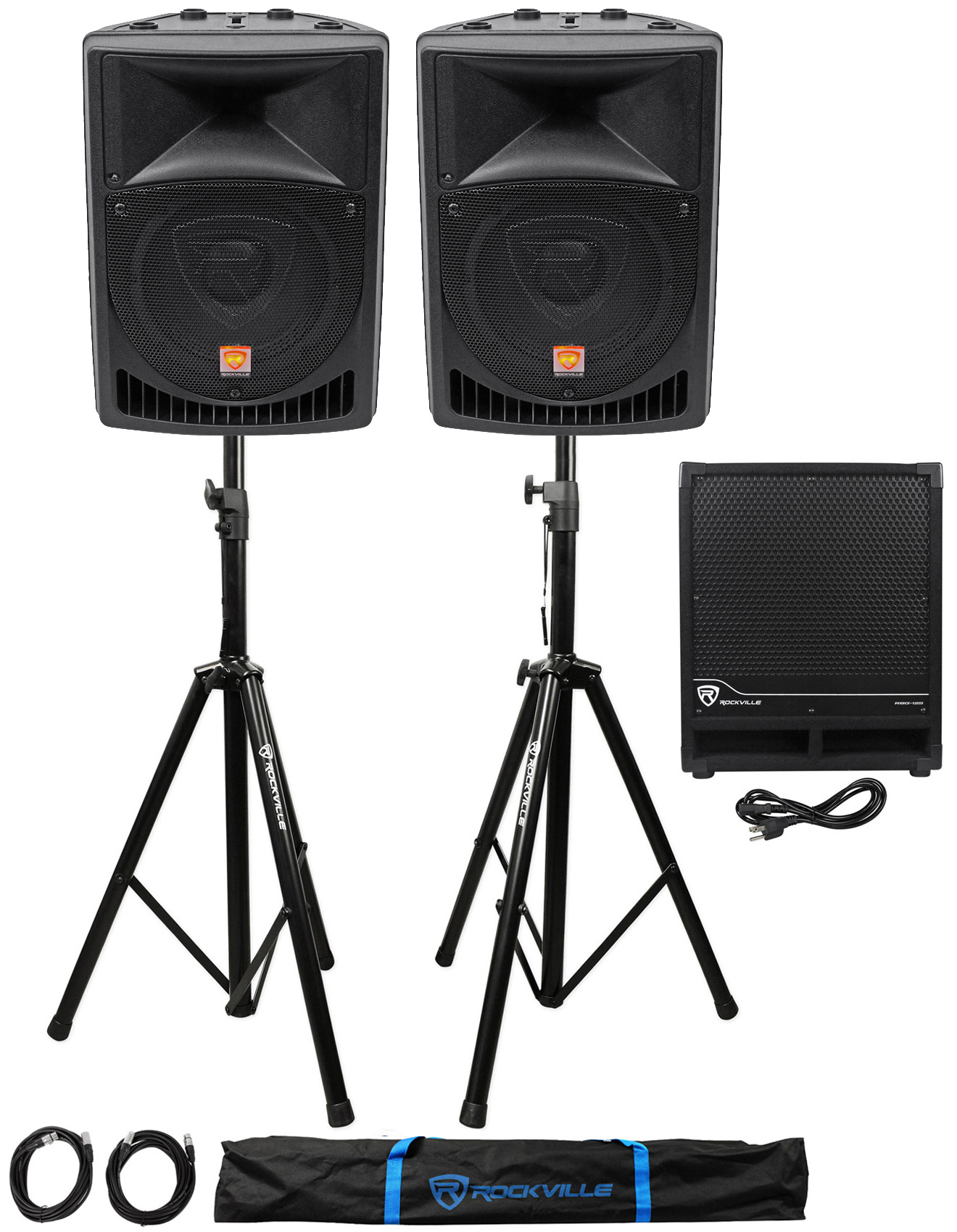 "(2) Rockville RPG8 8"" Powered 400W DJ PA Speakers+Active Sub+Stands+Cables+Bag by ROCKVILLE"
