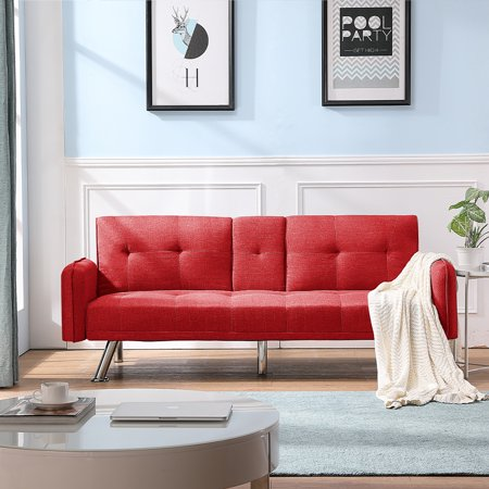 Sofa Sleeper, SEGMART Modern Fabric Twin Sofa Sleeper Bed with Metal Legs, Red Futon Sofa Bed Recliner Couch with 2 Cup Holders for Small Spaces Living Room Bedroom, 300 LBS Weight Capacity, L5264