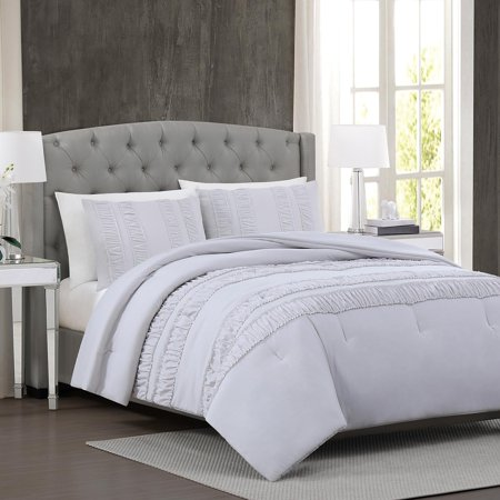 Christian Siriano Ruched Stripe Comforter Set Full/Queen - Light Gray ()