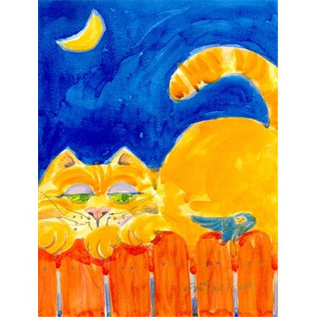 28 x 40 in. Orange Tabby Cat On The Fence Flag Canvas House Size ()