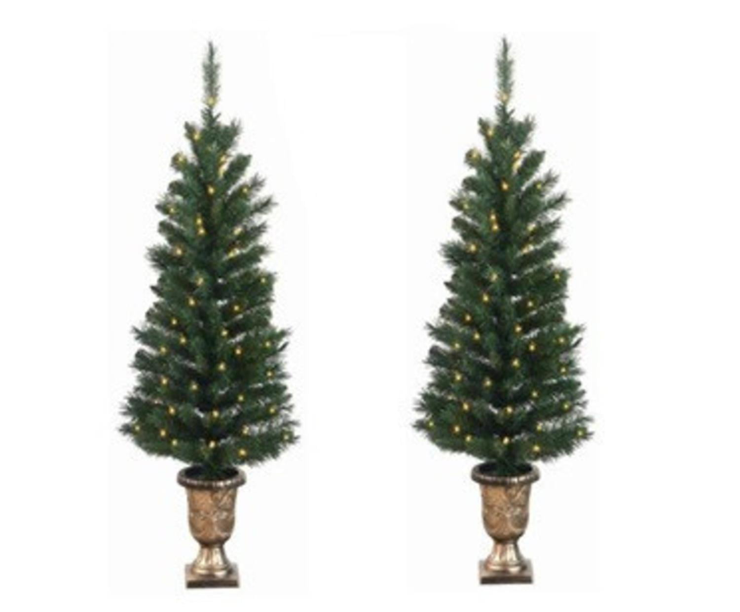 Pack Of 2 Pre-Lit Potted Porch Pine Artifical Christmas