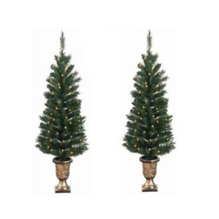 pack of 2 pre lit potted porch pine artifical christmas topiary tree clear lights - Christmas Topiary