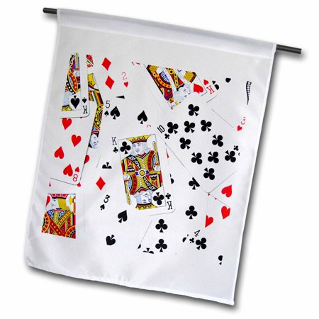3dRose Scattered playing cards photo - for card game players eg poker bridge games casino las vegas night - Garden Flag, 12 by 18-inch