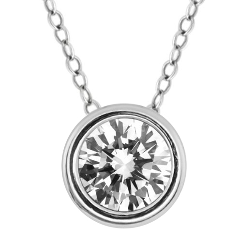 """1.50 Ct Round White Cubic Zirconia 925 Sterling Silver Pendant with 18"""" Chain"""