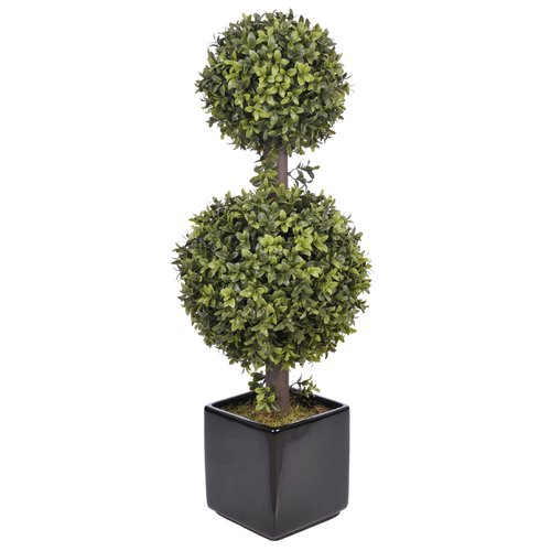 House of Silk Flowers Inc. Artificial Double Ball Topiary in Planter