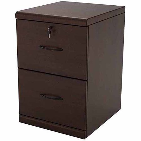 2 Drawer Vertical Wood Lockable Filing Cabinet Espresso