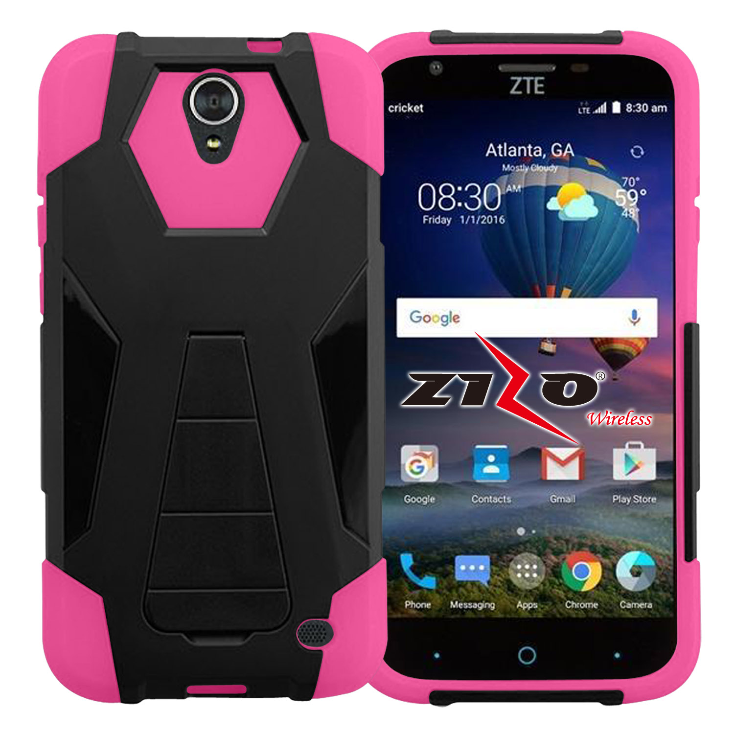 Zizo Hybrid Turbo Cover For ZTE Sonata 3 Chapel Z831 Prestige N9132 Avid Plus Z828 Heavy Duty Dual Layer Rugged Phone Protective Case w/ Kickstand