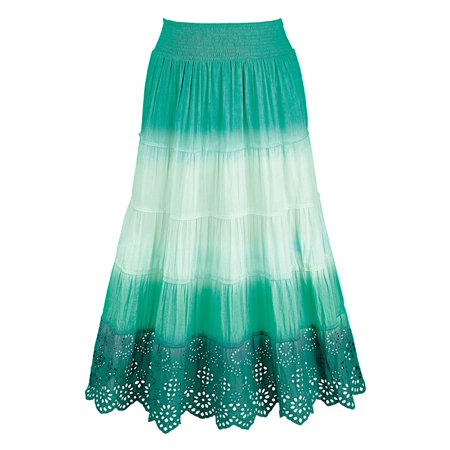 Ombre A-Line Gauze Peasant Skirt with Eyelet Lace Trim Butterfly Lace Skirt