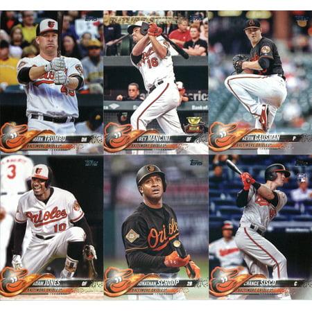 2018 Topps Baltimore Orioles Team Set of 11 Baseball Cards (Series 1): Dylan Bundy(#3), Chris Tillman(#5), Manny Machado(#25), Austin Hays(#62), Jonathan Schoop(#131) plus -