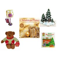 "Christmas Fun Gift Bundle [5 Piece] - I Just Rescued Some Wine"" Wine Glass Ornament - Dept. 56 Village Accessory Wagonwheel Pine Grove -  Piano  Treasures with The O'Neill Brothers CD - Hallmark Ted"